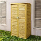 Coral Coast 5 x 3 ft. Garden Shed - Store rakes lawn bags pots and more easily in the Coral Coast 5 x 3 ft. Garden Shed. Constructed of fir wood that's similar in nature to cedar this shed has a warm honey stain and stainless iron handles. The double doors have magnetic closures and inside you'll find four shelves - 2 small 2 large - that adjust to multiple positions. Move them around until this garden shed meets your exact needs. About Coral CoastWhat if when you closed your eyes you pictured yourself in your own backyard? Coral Coast has a collection of easygoing affordable outdoor accessories for your patio pool or backyard. The latest colors and styles mingle with true classics in weather-worthy fabrics and finished woods ready for relaxation. Make yours a life of leisure.