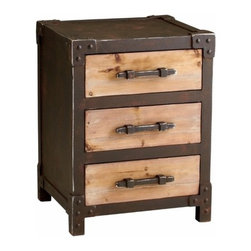 Rustic Iron and Wood 3 Drawer Storage End Table - *Chester Storage Table