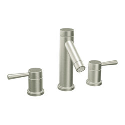 """Moen - Moen T6110BN Brushed Nickel Bath Sink Faucet Trim, 2-Handle 8""""-16"""" Center - Moen T6110BN is part of the Level Bath collection. Moen T6110BN is a new style bathroom lavatory, sink faucet trim. Moen T6110 has a Chrome finish. Moen T6110BN two handle widespread lavatory faucet mounts in a 3-hole 8"""" - 16"""" Center sink, with 1 1/2"""" long and 6 15/16"""" high spout. Moen T6110BN has Hydrolock quick connect system and includes 1224 cartridge design. Moen T6110BN two handle widespread trim, fits the MPact common valve system and requires Moen's 9000, or 69000 valve to make this faucet complete. Moen T6110BN is part of the Level bath collection. The Level collection stands apart with its clean, geometric lines and sleek modern designs refining style that transcends seamlessly into the modern homes. Moen T6110BN two lever handle provides ease of operation. Chrome is a proven finish from Moen and provides style and durability. Moen T6110BN metal lever handle meets all requirements ofADA CSA B-125.1, ASME A112.18.1, NSF 61/9 and proposition 6"""". Water Sense Certified. Lifetime limited Warranty."""