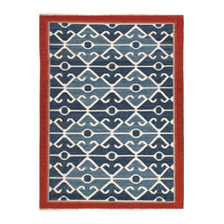 Jaipur Rugs - Flat-Weave Tribal Pattern Wool Blue/Red Area Rug (5 x 8) - Traditional kilims are given a modern twist with these bright fun flatweaves. Hand woven in 100% wools these rugs are reversible and durable.