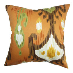 The Pillow Collection - Talisha Orange 18 x 18 Patterned Throw Pillow - - Pillows have hidden zippers for easy removal and cleaning  - Reversible pillow with same fabric on both sides  - Comes standard with a 5/95 feather blend pillow insert  - All four sides have a clean knife-edge finish  - Pillow insert is 19 x 19 to ensure a tight and generous fit  - Cover and insert made in the USA  - Spot clean and Dry cleaning recommended  - Fill Material: 5/95 down feather blend The Pillow Collection - P18-ROB-KHANDAR-CINNABAR-C100