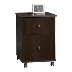 Sauder - 2 Drawer File Cart in Cinnamon Cherry Finish - 2 Drawers with metal runners and safety stops. Lower drawer holds letter-size hanging files. Casters for mobility. Patented T-slot drawer system. Made of engineered wood. Assembly required. 17 in. W x 16 in. D x 23 in. H