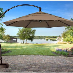 Treasure Garden - Treasure Garden 11 ft. Cantilever Offset Patio Umbrella with Base - RE240 - Shop for Patio Umbrellas from Hayneedle.com! Offset is right on track in the Treasure Garden 11 ft. Cantilever Offset Patio Umbrella with Base. This umbrella-and-base duo offers a ton of placement versatility. Ideal for covering large patio dining sets conversation seating or pool or spa areas this octagon umbrella with valance casts a generous 95 square feet of shade. An included pole and base keep it firmly grounded wherever you place it. The crank-style lift and tilt mechanism is easy to operate too. Choose from a variety of colors in O'bravia or Sunbrella fabric to suit your preference. Additional Features: 8 ribs measure 20 x 26mm each and support octagon shade Double-vented shade reduces effects of wind gustsHeight open: 123.07 in.Height closed: 118 in. About O'bravia FabricSpecially designed for outdoor applications O'bravia fabric is a stain-resistant high-performance environmentally friendly fabric. A proprietary blend of recyclable 100% solution-dyed polyester the fabric is a truly green choice for patio umbrellas cushions and other accessories. O'bravia fabric meets or exceeds all industry requirements including UV abrasion and Cal 117 standards. It carries a 3-year warranty against fading from normal usage and exposure to weather and atmospheric conditions including sunlight and mildew. About Sunbrella FabricSunbrella fabric is breathable and water-repellent. If kept dry it will not support the growth of mildew as natural fiber will. It's easy to clean requiring simple dusting off and soap and water. Beautiful and durable Sunbrella fabric is a name you can trust in your outdoor furniture. Sunbrella fabric comes with a 5-year warranty against fading.