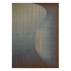 """Nourison - Nourison Radiant Arts RA01 (Sapphire) 2'3"""" x 4' Rug - Artwork worthy of any modern museum collection, these designs are seemingly painted from prisms of bending light. Subtle differences in hues create these stylish artistic effects."""