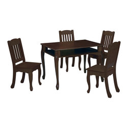"Teamson Kids - Windsor Espresso Rectangular Childrens Table And Chairs Set - Let style and functionality meet with our magnificent Windsor Espresso Rectangular Children's Table And Chairs Set. Exquisitely designed by the Teamson Company, this table and chair set is made to last. Perfectly hand carved of superior wood, and vividly hand painted of a fine espresso color, this set embodies a style that can match any room decor. Includes 1 table and 2 chairs. Dimensions: 31.50"" x 23.5"" x 22.5"" Note: some assembly may be required."
