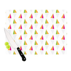 "Kess InHouse - Apple Kaur Designs ""Triangles"" Orange White Cutting Board (11"" x 7.5"") - These sturdy tempered glass cutting boards will make everything you chop look like a Dutch painting. Perfect the art of cooking with your KESS InHouse unique art cutting board. Go for patterns or painted, either way this non-skid, dishwasher safe cutting board is perfect for preparing any artistic dinner or serving. Cut, chop, serve or frame, all of these unique cutting boards are gorgeous."