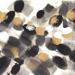 """Amantha Tsaros - """"All Neu"""" Original Painting on Paper - """"All Neu"""" is a cheery and bold black, white and gold painting/monotype on paper."""