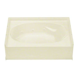 """STERLING PLUMBING - STERLING Ensemble(TM), Series 7611, 60"""" x 42"""" 6 Jet Whirlpool Bath - Left-hand D - Delivering a sleek, ergonomic design, the Ensemble(TM) bath made of solid Vikrell(R) material by Sterling provides maximum soaking comfort, with built-in armrests and a contour back that percectly fits the body's natural curve."""