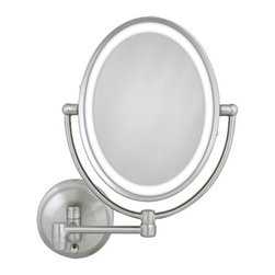 Zadro - Oval LED Lighted Wall Mirror - The Oval LED lighted wall mirror produces a clear and bright view every time. Its sleek satin-nickle finish and energy-saving LED bulbs will have you reflecting smiles as you get ready.