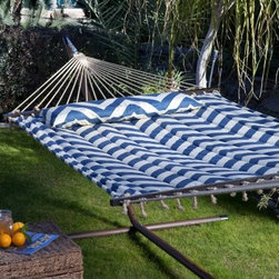 Island Bay 13 ft. Harbor and Cream Chevron Stripe Quilted Hammock with 15 ft. Ha - Put your back into it! Oh, not the yard work, this Island Bay Harbor and Cream Chevron Stripe Quilted Hammock with 15 ft. Hammock Stand. With this complete set you get a sturdy steel hammock stand and a generously sized hammock to match. The steel stand is a snap to set up, comes in a variety of smart color options that are powder-coated to last season after season, and is easy to move when you want to. Spacious enough for two, the hammock is made of comfy quilted fabric in a bold chevron stripe pattern made for lounging. You'll end up spending all your free time in this beauty and it even comes with a matching, extra long pillow that gives you and your honey a spot to settle in for the afternoon. Relax the back in style!