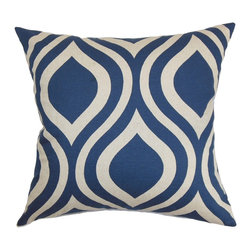 "The Pillow Collection - Larch Geometric Pillow Indigo - Add a graphical detail to your living room, bedroom or kitchen with this pleasant throw pillow. This striking accent pillow will draw your attention with its fancy geometric pattern in a white and blue color palette. Use this plush decor pillow to add comfort to your furniture. You can mix and match this square pillow with other patterns from our collection. This 18"" pillow is made from 100% soft cotton material, which is durable and easy to maintain. Hidden zipper closure for easy cover removal.  Knife edge finish on all four sides.  Reversible pillow with the same fabric on the back side.  Spot cleaning suggested."