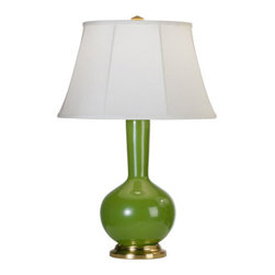 Robert Abbey - Robert Abbey Devon Brass Accent Lamp with Warm White Microfiber Empire Shade 149 - Kiwi Glazed Ceramic Body