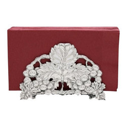 Arthur Court - Grape Napkin Holder - Shiny silver leaves, grapes and vines dress up this whimsical aluminum napkin holder, making it the perfect addition to your holiday meals. Pair it with the coordinating platters, plates and bowls for the perfect festive serving collection.