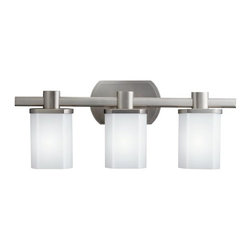 KICHLER - KICHLER Lege Modern / Contemporary Bathroom / Vanity Light X-IN3505 - From the Lege Collection, this Kichler Lighting bathroom light is a perfect example of contemporary styling. The clean lines are softened slightly by subtle curvature highlighted perfectly by the three opal etched glass shades and Brushed Nickel finish.