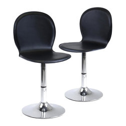 Winsome Wood - Contemporary Swivel Chair Set w Metal Frames - A merging of retro and modern design elements gives these swivel stools a contemporary appeal that will be a bold addition to any decor. The chairs have metal bases and shell seats upholstered in faux leather for added visual appeal. They are sold in a set of two. Set of 2. Made of faux leather / metal. Black / Metal finish. Some assembly required. 17.5 in. W x 16.25 in. L x 33.25 in. H