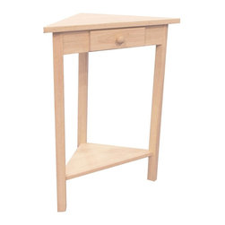 International Concepts - Corner Accent Table - Give any corner in your home an upgraded look with this space-saving accent table. Perfect in living spaces or at the end of hallways, table has triangular top, single drawer with round pull and lower shelf for display purposes. Optional wood finishing kit available. One small drawer. Lower shelf. Made of ParaWood. Unfinished