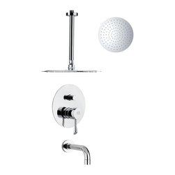 Remer - Sleek Modern Tub and Rain Shower Faucet - Single function tub and shower faucet.