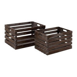 Woodland Imports - Woodland Imports Solid Wood Wine Crates - Set of 2 - Deep Brown - 50219 - Shop for Wine Bottle Holders and Racks from Hayneedle.com! Casual and rustic this pair of Woodland Imports Solid Wood Wine Crates - Set of 2 - Deep Brown is perfect for picnicking. Crafted of sturdy solid hardwood with a natural brown finish this rugged set carries up to six of your favorite wines and is designed to comfortably weather the outdoors. Carry it outside for a barbecue or picnic or leave it indoors for a rustic display. Small: 15W x 10D x 9H in.; large: 17W x 12D x 10H in.