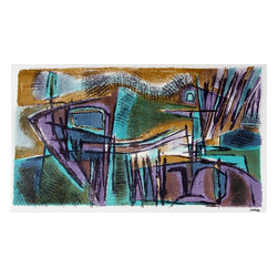 Lost Art Salon - 1940-50s Sober Original Stone Lithograph Abstract by Jerry Opper - This late 1940s-Early 1950s stone lithograph on paper abstract is by California artist Jerry Opper (b.1924). After graduating from Hollywood High School, he worked in movie studios and attended art classes at Choiunard Art Institute. In 1942 he was drafted into the army and was then able to study at the Colorado Springs Fine Arts Center while his outfit was stationed in Colorado. After he was discharged in 1945 he returned to Chouinard and his work in movie studios until 1947, when he moved to San Francisco. Mr. Opper then enrolled at the California School of Fine Arts. Opper�۪s prints have been included in several major shows throughout the country: Oakland Art Gallery; Sacramento State Fair; San Francisco Museum of Art; International Color Lithography Exhibition at Cincinnati, Ohio; Pennell Print Show at the Library of Congress, Washington D.C.; Brooklyn Museum Print Show; Los Angeles County Fair, Pomona; City of Paris Rotunda Gallery, San Francisco. Unframed, shipped in standard sized archival mat.
