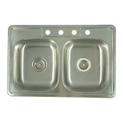 Kingston Brass - Double Bowl Self-Rimming Kitchen Sink - The double bowl self-rimming kitchen sink features two equal-sized, soft square basins with a pre-drilled four-hole opening. The wide space and depth of the two basins allows washing appliances and preparing food an easy task. The kitchen sink is made of high quality stainless steel and is fully protected by a heavy-duty sound deadening pad to minimize noise while washing pots and pans in the sink.
