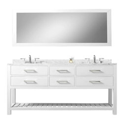"Water Creation - Madalyn Pure White Bathroom Vanity 24"", 30"", 60"", 72"", 72"" Wide, Vanity and 72"" - Water Creation Madalyn 72WB 72-Solid White Double Sink Bathroom Vanity With Matching Large Framed Mirror From The Madalyn Collection"