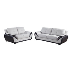 Global Furniture USA - U3250 Grey & Black Bonded Leather Three Piece Sofa Set - The U3250 sofa set will add a stylish modern look to any decor it's placed in. This sofa set comes upholstered in a beautiful two-tone grey and black bonded leather in the front where your body touches. Skillfully chosen match material is used on the back and sides where contact is minimal. High density foam is placed within the cushions for added comfort. With it's two-tone color design this sofa set really stands out amongst the others. The price shown includes a sofa, loveseat, and chair only.