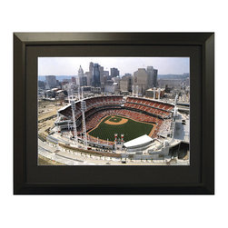 Frontgate - Framed Aerial MLB Stadium Images - The Ballpark at Arlington (Rangers) - Our Framed Aerial Stadium Images make a great gift for the sports enthusiast. Choose from a large selection of college and professional stadiums, both current and classic. An excellent piece of sports memorabilia no matter who you root for. All pieces come with an engraved stadium name plate. Framed with elegant black wood.