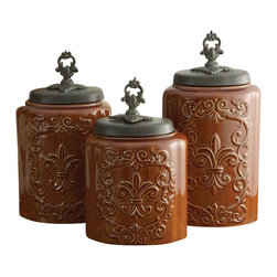 "Jay Companies - Antique Fleur De Lis Brown Canister Set - This set of 3 brown ceramic canisters adds up to the complete look of your designer kitchen. Perfectly suitable for any style decor, this set adds to the traditional feel of your conventional home and plays a bright contrast by offering a vintage appeal to your ultra modern kitchen. An elegant and thoughtful way to keep sugar, salt, coffee or any other commonly used kitchen ingredient in a perfect, separate space. * Set of 3 * Measures: Large: 11.8""H, Medium: 10.4""H, Small: 9.3""H * Capacity: Large: 84.5 oz., Medium: 74.5 oz., Small: 60.5 oz. * Care: Hand wash * Includes rubber gasket on top to ensure freshness"