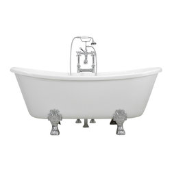 The Tub Studio - Federigo White Acrylic French Bateau Claw-Foot Tub Package With Medici Feet - Product Details