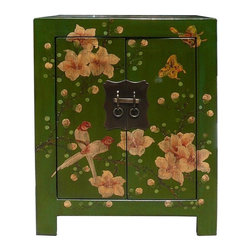 Golden Lotus - Chinese Green End Table w Flower Birds Graphic - This is a side table / nightstand with rustic vintage green lacquer finish. A colorful scenery of Asian flowers & birds scenery is drawn on the door, drawer and top. Bird and flower position is different for each table.
