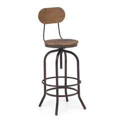 ZUO ERA - Twin Peaks Bar Chair Distressed Natural - Based on the same mechanisms of drafters chairs in the early 1900's, the Twin Peaks bar chair's adjustable mechanism allows a comfortable height for anyone. The top is solid Elmwood and the base and accents are antique metal.