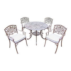 Oakland Living - 5-Pc Aluminum Dining Set - Includes table, four stackable dining chairs with cushions and metal hardware. Handcast. Umbrella hole table top. Fade, chip and crack resistant. Traditional lattice pattern and scroll work. Hardened powder coat. Rust free. Warranty: One year limited. Made from cast aluminum. Antique bronze finish. Minimal assembly required. Table: 42 in. Dia. x 29 in. H (44 lbs.). Chair: 23 in. W x 22 in. D x 35.5 in. H (25 lbs.)The Oakland Mississippi Collection combines southern style and modern designs giving you a rich addition to any outdoor setting. This dining set is the prefect piece for any outdoor dinner setting. Just the right size for any backyard or patio.
