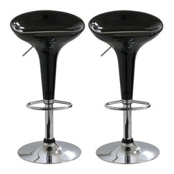 "Buffalo Tools - Adjustable Molded Bar Stool (Set of 2) - Add a bit of whimsy to your kitchen, bar, game room, basement, or shop with the AmeriHome Bar Stool Set in glossy black. A sleek and fun silhouette with a polished mirror-like chrome base and a shiny black molded seat give them an ultramodern look. Designed with comfort in mind. With a large 14.75 inch wide molded ABS plastic 360 degree swivel seats, built in footrest, 3 inch backrest, and an adjustable seat height of 22 to 30 inches. Great features that make these bar stools comfortable for everyone. Features: -Set of 2 bar stools. -Color: Black. -Material: Chrome and steel. -Fully polished fiberglass. -360 Degree swivel. -Chrome plated mirror finish, steel base and foot rest. -Height adjustable from 22"" to 30"". -Dimensions: 18"" H x 16.5"" W x 23.5"" D. -330 Lb Weight Capacity."