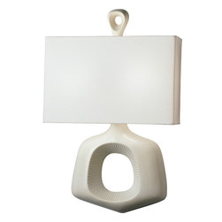 Robert Abbey - Jonathan Adler Ceramic Sconce Wall Sconce - Quite an objet d'art, this contemporary ceramic wall sconce is quite the statement. The unusual baby rattle shape and white linen fabric shade add an element of intrigue to a seemingly mundane purchase.