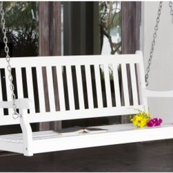 Coral Coast Pleasant Bay Traditional Back Porch Swing - White - The Pleasant Bay Wood Painted Traditional Back Porch Swing – White offers a classic look and comfortable style to any porch. This beautiful swing is made of durable Acacia wood and features a painted white finish. Its slat back and seat provide a comfortable respite on a warm summer day. Easy to install, this swing comes complete with a set of hanging chains.Additional Information4-foot swing dimensions: 48L x 24D x 23.4H in.5-foot swing dimensions: 51.5L x 22W x 23.5H in.About Coral Coast What if, when you closed your eyes, you pictured yourself in your own backyard? Coral Coast has a collection of easygoing, affordable outdoor accessories for your patio, pool, or backyard. The latest colors and styles mingle with true classics in weather-worthy fabrics and finished woods, ready for relaxation. Make yours a life of leisure.
