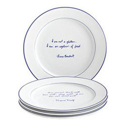 """Foodie Quote Salad Plates - Set of 4 - New - Perfect for nerds, foodies, and people who need to justify that last slice of cake. Some of the world's greatest minds rhapsodize on the philosophy of food on this set of salad plates. Quotes are: """"I enjoy cooking with wine; sometimes I even put it in the food for cooking."""" –Julia Child """"Nothing would be so tiresome as eating and drinking if God had not made them a pleasure as well as a necessity."""" –Voltaire """"I am not a glutton. I am an explorer of food."""" –Erma Bombeck """"One cannot think well, love well, sleep well, if one has not dined well."""" –Virginia Woolf"""