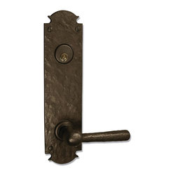 "Coastal Bronze 320 Series Solid Bronze Tubular Latch & Bolt Door Entry Set - Lar - The Coastal bronze 320 Series Solid Bronze Tubular Latch & Bolt Door Entry Set features a large 11"" x 2 3/4"" euro plate with 5 1/2"" center to center door prep. Includes your choice of lever, knob or ring turn. Each is a perfect blend of craftmanship in traditional and contemporary design to complement any decor. A living patina finish, the metallic bronze hardware darkens to an old-penny brown then eventually to a greenish/blue patina when exposed to the elements."