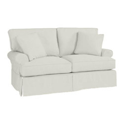 Ballard Designs - Suzanne Kasler Signature 13oz Linen Davenport Loveseat Slipcover - Coordinates with Suzanne's linen panels, tablecloths & pillows. Easy to change with the seasons & to remove for cleaning. Dry clean. Imported. Suzanne's best-selling line of luxurious linens now include slipcovers designed exclusively to fit our best-selling Davenport Loveseat. Hand finished with strong, over-locking seams and custom fitted to prevent shifting and bunching. A Davenport Slipcover is necessary when ordering any Davenport frame.Suzanne Kasler Davenport Loveseat Slipcover features: . . . .