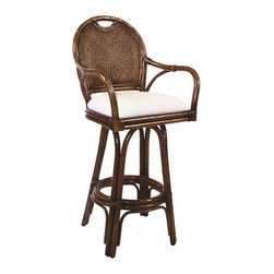 "Hospitality Rattan - Classic Indoor Rattan 24"" Swivel Bar Stool in TC Antique Finish - This Classic rattan bar stool incorporates a double wall woven construction, where both sides of the foam-padded wicker weave are seen. Leather bindings are used throughout the bar stool The finish is known as TC Antique, which coordinates with our famous Oyster Bay Collection. The bar stools and counter stools feature commercial grade reinforced rattan bases, swivel mechanisms & reinforced double pole footrests. In addition your choice of over 35 fabrics is available on the Classic Bar stool Some Assembly Required. Features: -Traditional indoor rattan and wicker swivel bar stool. -Finished in TC antique color. -Includes cushion with choice of fabric in a variety of colors and patterns. -Swivel mechanism included. -Constructed of commercial quality rattan poles. -Requires some assembly (Instructions included). -Overall dimensions: 42"" H x 22"" W x 21"" D."