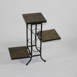 4D Concepts 3 Tier Plant Stand w/ Slate Top in Black Metal