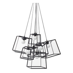 "Iacoli & McAllister - Seven Piece Black Frame Cluster - Call it the ""anti-chandelier."" Seven individual lights (four small and three medium) are combined in a single, striking fixture. Hard-wired installation keeps this modern septet working as one. Ideal for the dining room, entry, stairwell — or anyplace that cries out for a creative lighting solution."