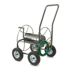"""Lewis Lifetime Tools - Four Wheeled Hose Truck - Features: -Wheeled. -All steel construction. -Anti rust finish. -Heavy duty hose trucks feature durable. -Pneumatic wheels perfect for rugged conditions. -Holds up to 4800 inch of hose. -Easy assembly. -Dimensions: 23"""" H x 22"""" W x 20"""" D."""