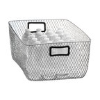 Design Ideas - Net Mesh Storage Basket - Black Handle, Large - Meet the Net. Cool wire storage baskets, accented with black silicone handles. Store towels, cleaning supplies, hangers, balls, water bottles or odds and ends in the garage.