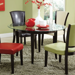 Coaster - Mix & Match Beveled 48in. Glass Top & Table Base - Add a splash of color to your dining room with this table set. Featuring a modern table base in cappuccino. Stylish chairs are available in four chic colors set in vinyl.