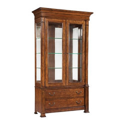 Hekman Furniture - European Legacy Tall China Cabinet - Touch lighting. Three glass shelves with plate groove. Glass inset in doors and sides of case. Two lower drawers. Warranty: One year. Made from rustic American cherry solids and veneers. Macadamia finish. 50 in. W x 19 in. D x 88 in. H