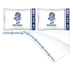 Sports Coverage - NCAA North Carolina Tarheels Football Queen Bed Sheet Set - Features:
