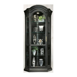 Philip Reinisch - Philip Reinisch Color Time Panorama - Contemporary Corner Curio Display Cabinet - Bold and dramatic, the special pirate black distressed finish on this handsome Panorama corner Curio Display Cabinet gives it character and charm.  From the Color Time series by Philip Reinisch, the distinctive curved bonnet top and unique five-sided shape set it apart from all the rest.  You'll have a great view of all your most treasured collectibles, arranged beautifully on the clear glass shelves in the roomy lighted interior.  Finely crafted from solid hardwood, it cleverly features a reversible back panel so you can customize the look to your personal taste. Seven adjustable shelves. Lighted (U.L. & C.S.A Approved). Reversible back: pirate black board and pattern on one side, chestnut finish on the other. Hand-rubbed and distressed. Made from Solid Northern Hardwood. 37 in. W x 24 in. D x 78 in. H (124 lbs.)