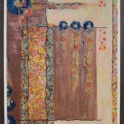 """Dianna Cates Dunn - Come Together - Painting - In reflection, it was a lovely time. Initial obstacles were easily overcome. Eyes were opened wider and saw more clearly. A lovely time together. 60"""" x 48"""" x 2"""" acrylic/collage painting on wrapped canvas."""