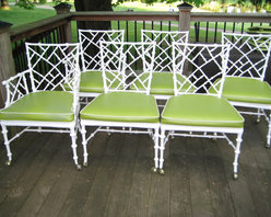 Six Cast Aluminum Chinese Chippendale Faux Bamboo Chairs By Caesarshouse - You can't host a dinner party without dining chairs! This vintage Chippendale set features a white frame and lime green upholstery for a fun chinoiserie feel.
