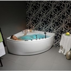 """Aquatica - Aquatica Oliv Freestanding Acrylic Bathtub - White - Aquaticas Olivia corner bathtub was designed for nothing less than utter relaxation. Though the outer shape fits snugly into a bathrooms discreet corner, the inner basin is expansive and deep with sloping sides ideal for reclining into a sea of warmth. The spacious corner shelf also provides convenient access to other instruments of relief, by the a candle, bubble bath or a glass of Champagne.Aquatica's bathtubs offer modern glamour at affordable prices. The Aquatica line is diverse enough to encompass both bathtubs with classical elegance that match the style of your bath and bathtub models that are distinctive and unique as the centerpiece of your remodel.FeaturesStriking upscale modern designFreestanding constructionSolid, one-piece construction for safety and durabilityExtra deep, full-body soakErgonomic design forms to the bodys shape for ultimate comfortQuick and easy installationConstructed of 8mm thick 100% heavy gauge sanitary grade precision acrylicPremium acrylic and tub thickness provides for excellent heat retentionHigh gloss white surfaceColor is consistent throughout its thickness not painted onColor will not fade or lose its brilliance overtimePreinstalled cable drive pop up and waste-overflow fitting includedDesigned for one or two person bathingNon-porous surface for easy cleaning and sanitizingBuilt-in metal base frame and adjustable height metal legsChrome plated drain5 Year Limited WarrantyCode compliant with American standard 1.5"""" waste outletsSpecificationsOverall Dimensions: 55 in. L X 55 in. W X 26.75 in. HDepth to Overflow Drain: 16.5 in.Interior Depth: 20 in.Interior Length (Top): 55 in.Interior Width (Top): 29.5 in.Interior Length (Bottom): 41.75 in.Interior Width (Bottom): 22.5 in.Weight: 140 lbsCapacity: 74 GallonsShape: CornerDrain Placement: CenterSpec SheetNote: This model usually ships in 1-2 days. Please allow an additional 2-3 business days for order transmittal and v"""